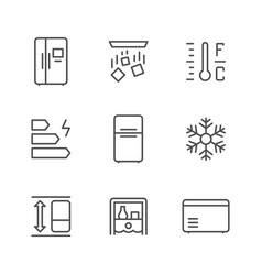 set line icons fridge vector image