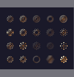 set luxury golden abstract flower symbols vector image