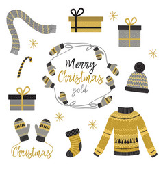 Set of isolated christmas gold clothes and gift vector