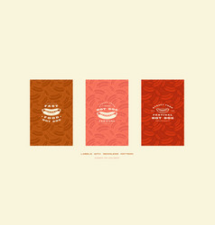 set of menu cover and seamless pattern vector image
