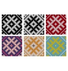 Set of North knitting seamless patterns vector image