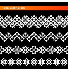 Set of seamless ethnic borders floral patterns vector