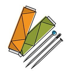 Sewing thread tubes with needles and pins vector