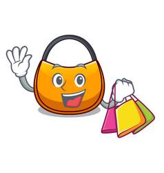 Shopping beautifully hobo bag on character funny vector