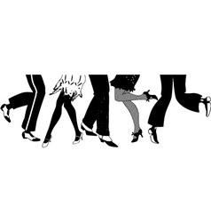 Silhouette charleston dancers legs vector