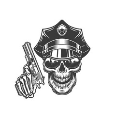skull in police hat and sunglasses vector image