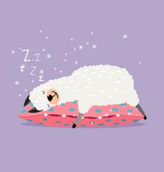 sleeping alpaca cute lama love sleep on pillow vector image