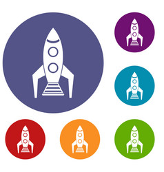 space rocket icons set vector image