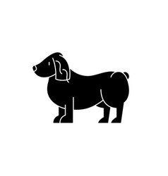 spaniel black icon sign on isolated vector image
