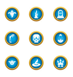 Spell icons set flat style vector