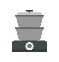 Steam cooker icon flat style vector