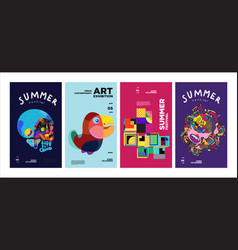 Summer festival art and culture colorful poster vector