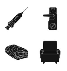 Syringe door handle and other web icon in black vector