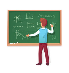 teacher write on blackboard school professor vector image