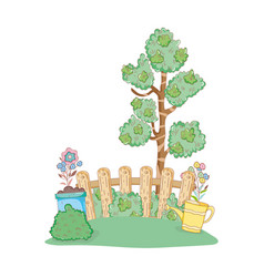Tree plant with garden and sprinkler vector