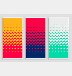 Triangle halftone pattern in different colors vector