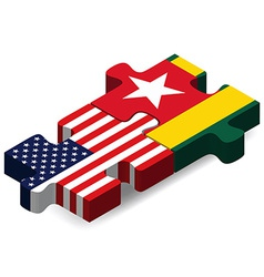 USA and Togo Flags in puzzle vector