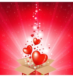 Valentines day card with box and sunburst vector