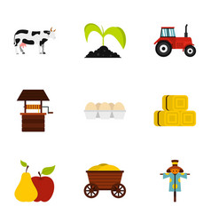 village icons set flat style vector image