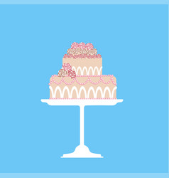 wedding cake decorated with roses and beads on a vector image