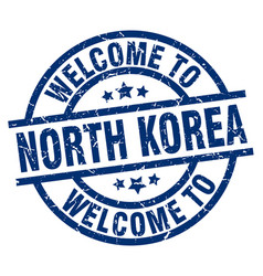 Welcome to north korea blue stamp vector