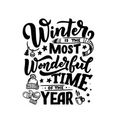 winter inspirational quote typography for vector image