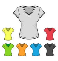 Womens V-neck T-shirt Design Template Color Set vector
