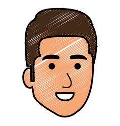 young man head avatar character vector image