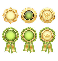 Green award rosettes with gold heraldic medal vector