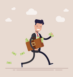 happy businessman or manager is running with a vector image