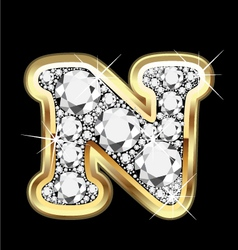 letter n gold and diamond vector image vector image