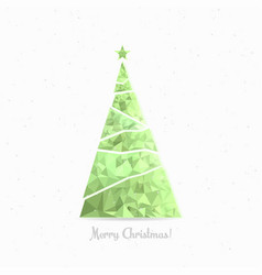 merry christmas tree in low poly triangle style vector image