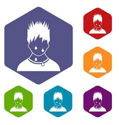 Sweaty man icons set vector
