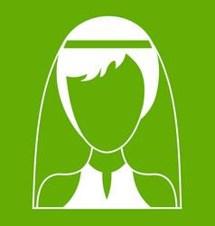 beautiful bride icon green vector image