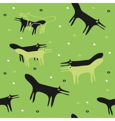 seamless green background with the foxes vector image