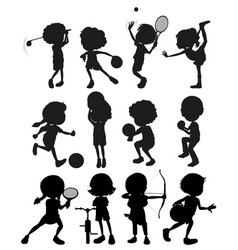 silhouette kids playing different sports vector image vector image