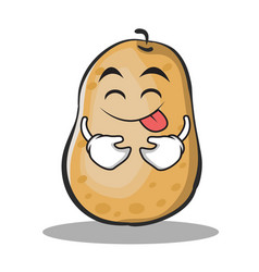 tongue out potato character cartoon style vector image vector image