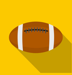 brown leather rugby ball icon flat style vector image