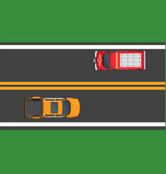 city traffic concept with cars on highway vector image vector image