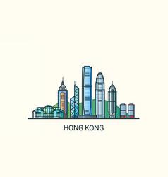 flat line hong kong banner vector image vector image