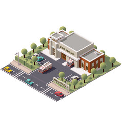 isometric fire station vector image vector image