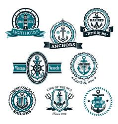 marine and nautical heraldic icons set vector image vector image