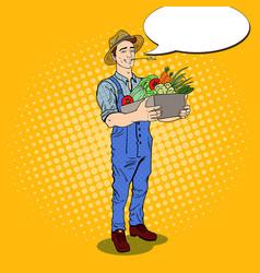 pop art farmer holding basket with vegetables vector image