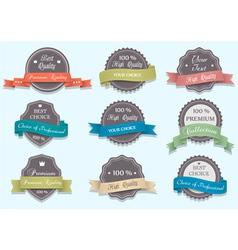 Premium Quality labels in retro colors vector image