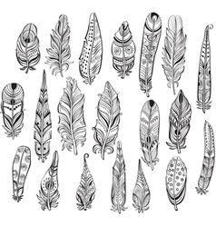 Set of ethnic feathers in native style vector image vector image
