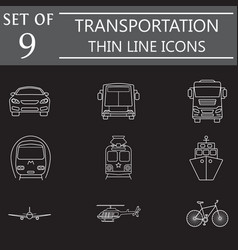 transport line icon set public transportation vector image