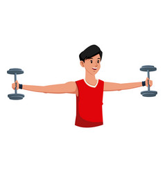 fitness man weight gym workout vector image vector image