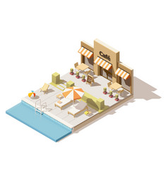 isometric low poly swimming pool and cafe vector image vector image