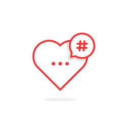 red heart like hashtag logo vector image
