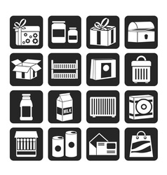 Silhouette different kind of package icons vector image vector image